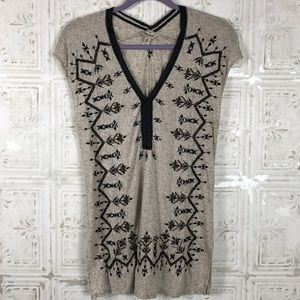 Lucky Brand | Beaded and Embroidered Top